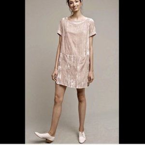 Anthropologie Ivory Crushed Velvet Shift Dress M